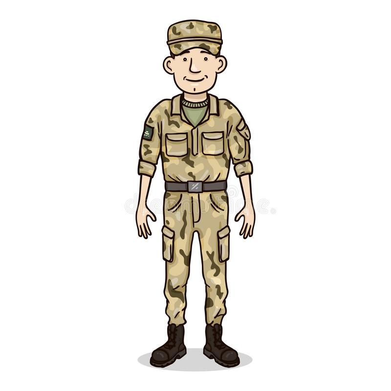 Vector Cartoon Character - Young Man in Military Uniform. Soldier, Service Man royalty free illustration