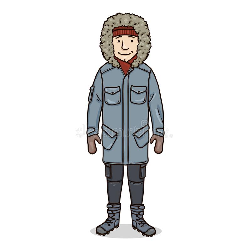 Vector Cartoon Young Man in Winter Outfit royalty free stock photos