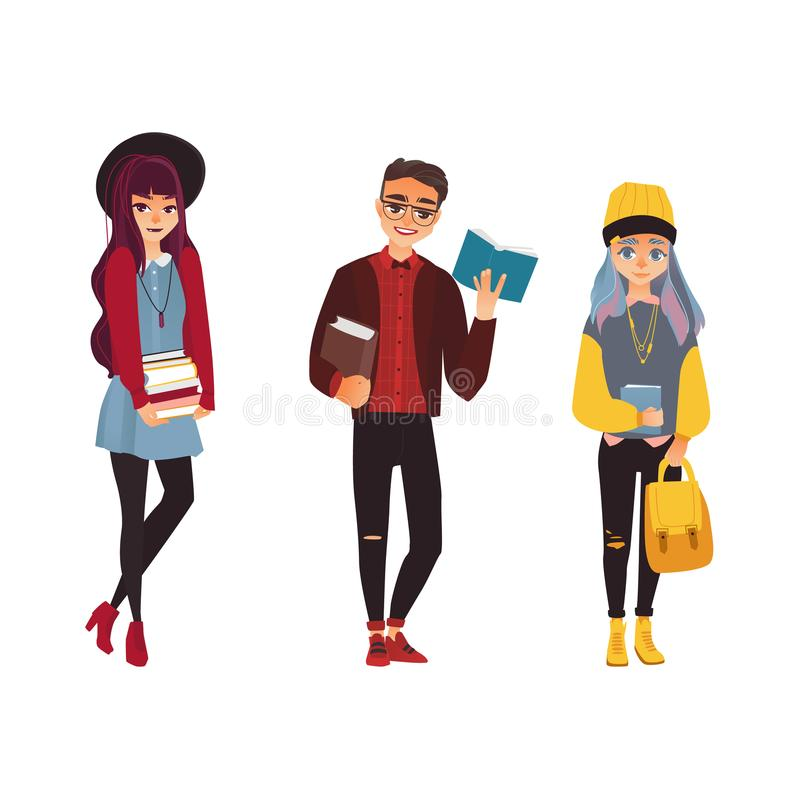 Vector cartoon young teen students set. Girls, boy in modern casual clothing, hat, cap jeans, holding books, backpack smiling. Female, male university, college vector illustration