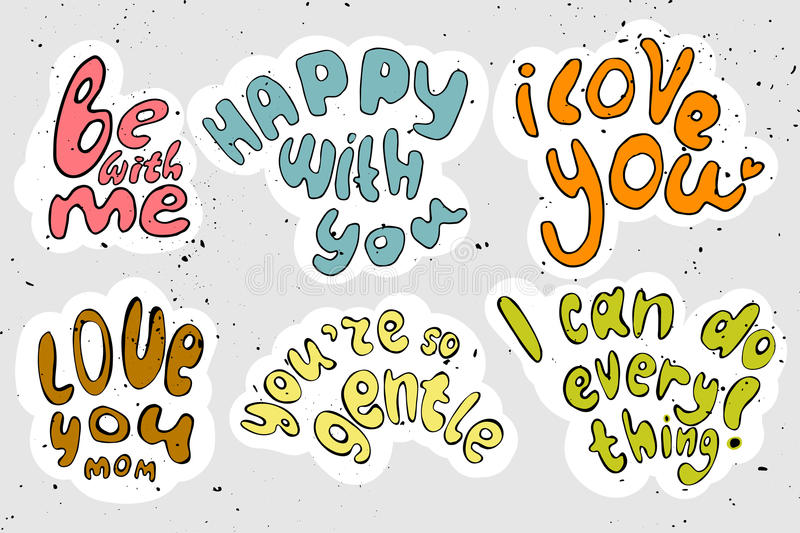 Vector cartooning lettering about love and motivation. Cute letter vector illustration