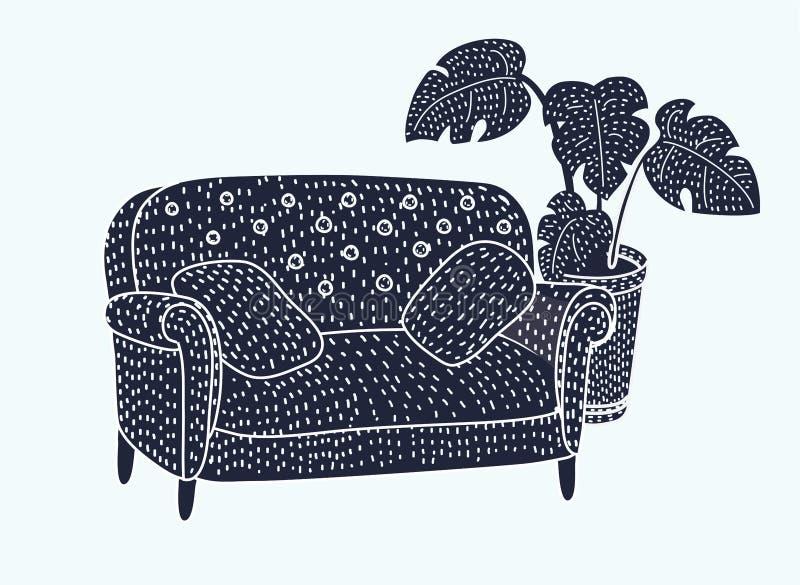 Sofa Black and white icon vector illustration