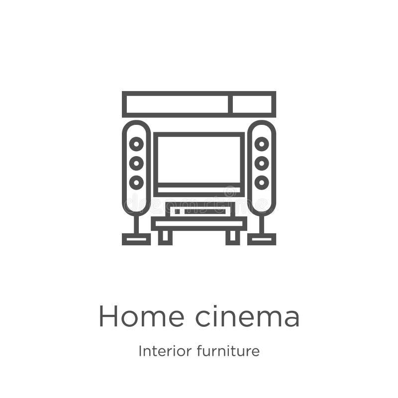 vector casero del icono del cine de la colección interior de los muebles Línea fina ejemplo del vector del icono del esquema del  libre illustration