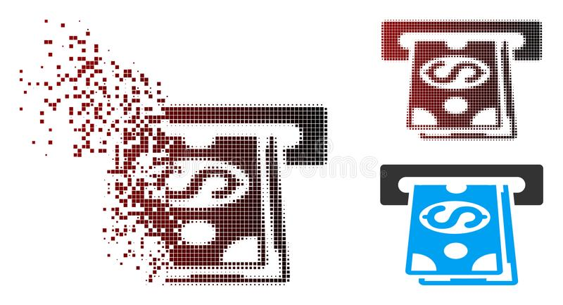 Dissolving Pixel Halftone Cash Machine Icon. Vector cash machine icon in sparkle, dotted halftone and undamaged solid variants. Disappearing effect involves royalty free illustration