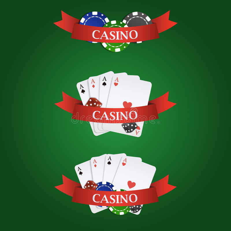Vector casino elements: ribbon, playing cards, dices and chips. Vector colorful casino elements: ribbon, playing cards, dices and chips on green background royalty free illustration
