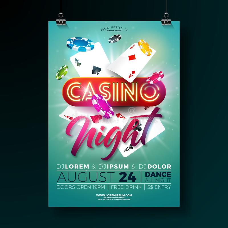 Vector Casino night flyer illustration with gambling design elements and shiny neon light lettering on green background royalty free illustration