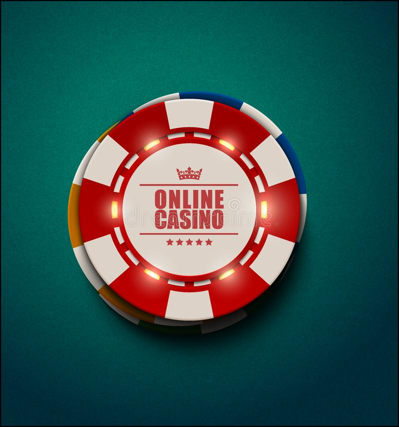 Vector casino poker chips with luminous light elements, top view. Blue green textured background. Online casino, blackjack poster vector illustration