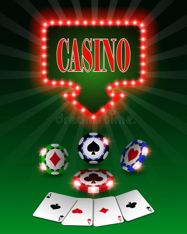 Vector casino poker chips, template for design backgrounds, mockup for cards and banners. Illustration. Vector casino poker chips, template for design stock illustration