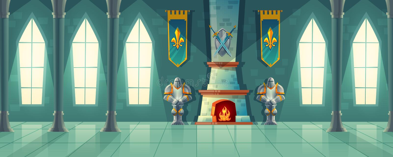Vector castle hall, interior of royal ballroom stock illustration