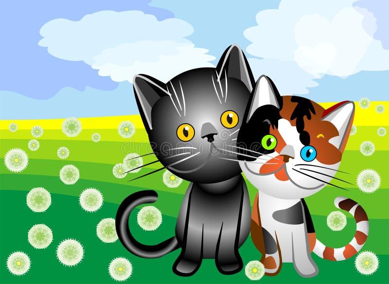 vector Cat`s love royalty free stock photos