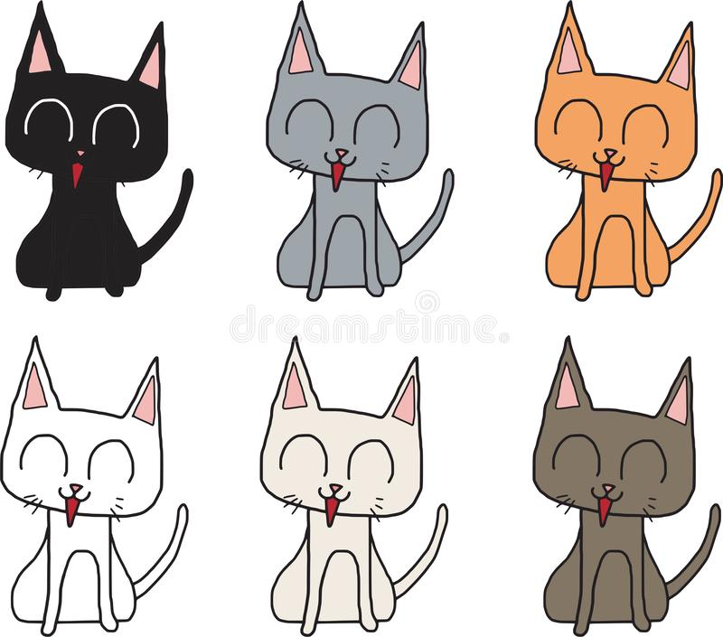 Vector cat smile sitting character have many color isolated white background vector illustration
