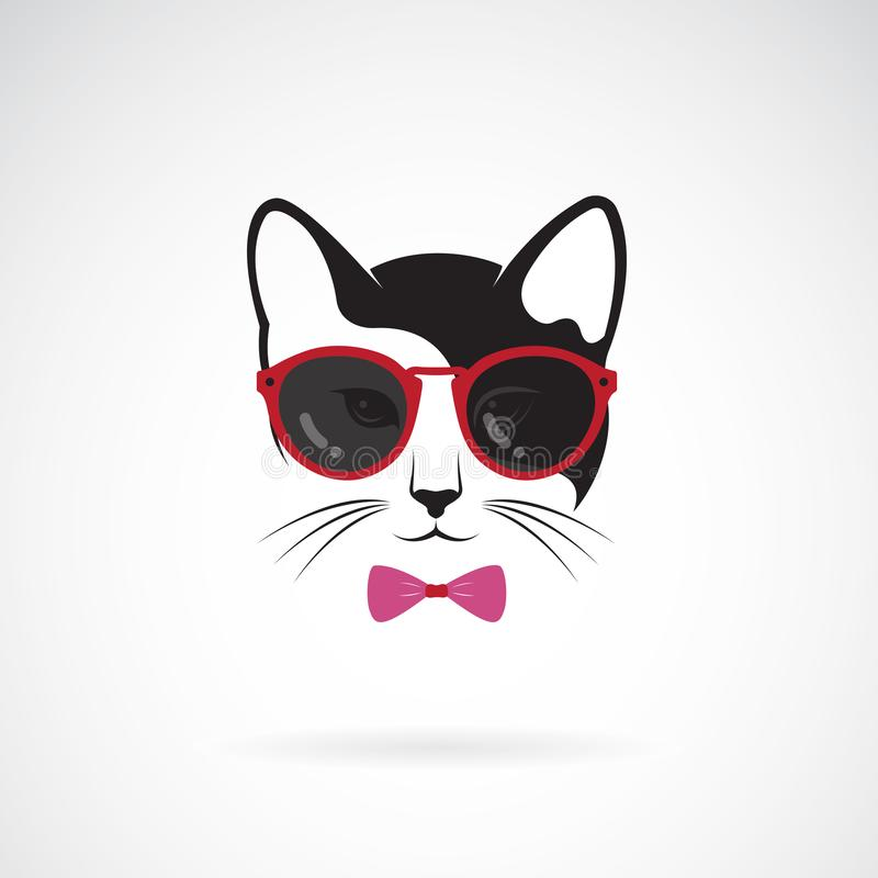 Vector of cats wear sunglasses on white background. Animal. Cat fashion. Pet logo or icon. Easy editable layered vector royalty free illustration