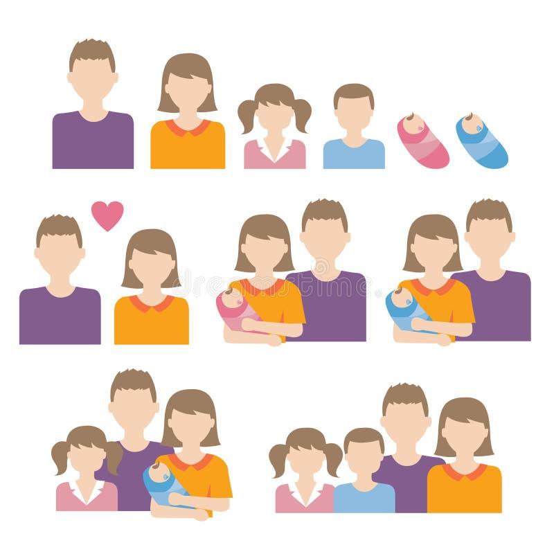 Vector caucásico de la familia ilustración del vector