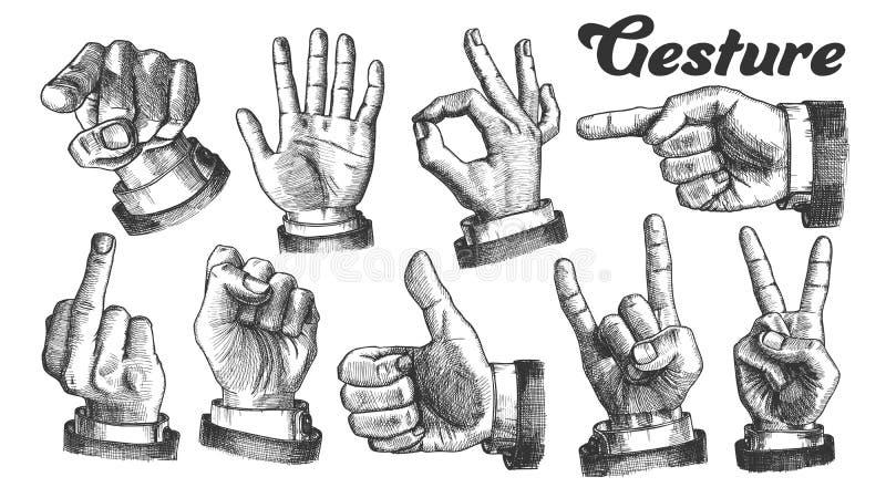 Vector caucásico masculino múltiple del sistema del gesto de mano stock de ilustración
