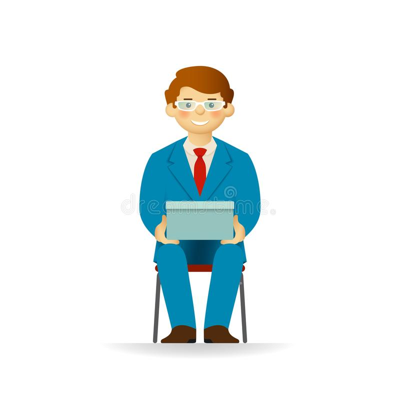 Vector caucasian man character in business suit sitting on chair and holding box.  royalty free illustration