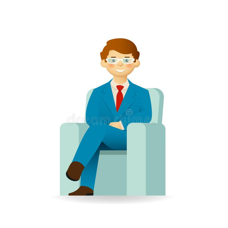 Vector caucasian man character in business suit sitting in chair.  vector illustration