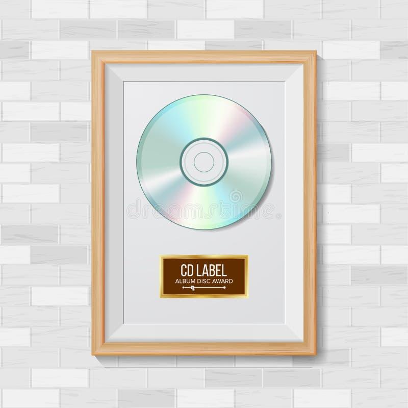 Vector CD del premio del disco El superventas Trofeo musical Marco realista, disco del álbum, pared de ladrillo Ilustración stock de ilustración