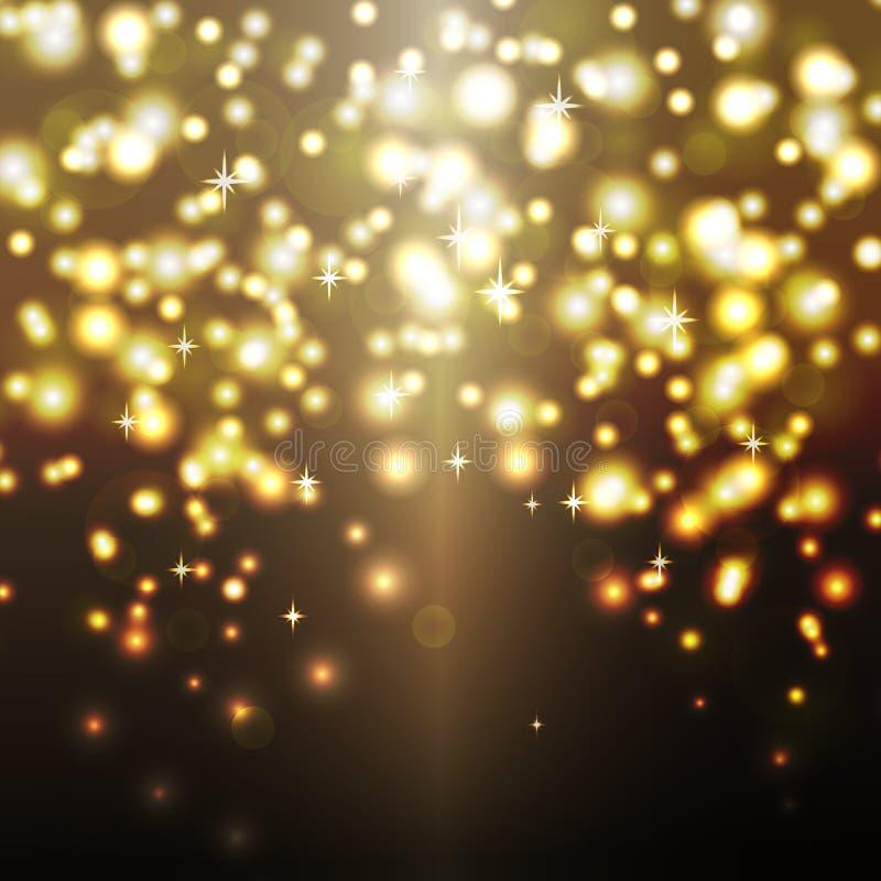 Vector celebration gold sparkles background. Vector golden shiny sparkles glitter bokeh celebration background illustration design royalty free illustration