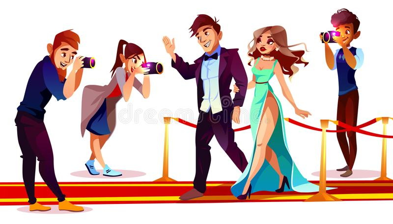 Vector celebrities with paparazzi on red carpet stock illustration