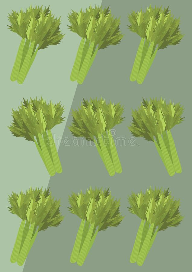 Vector Celery Background. Vector. Flat design. Background with celery stock illustration