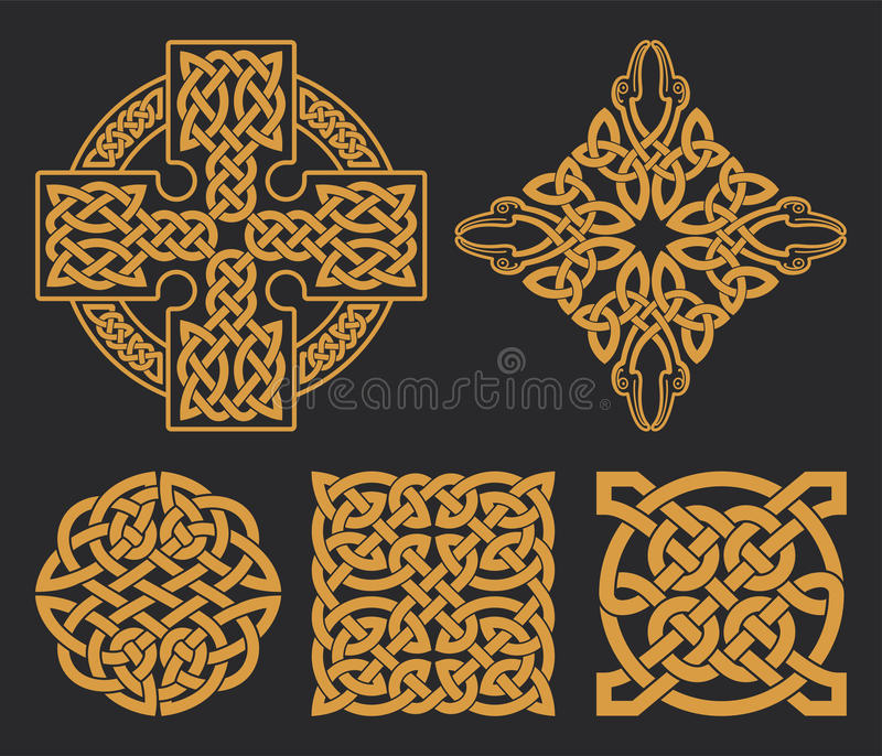 Vector celtic cross and knot set. Ethnic ornament. Geometric design. royalty free illustration
