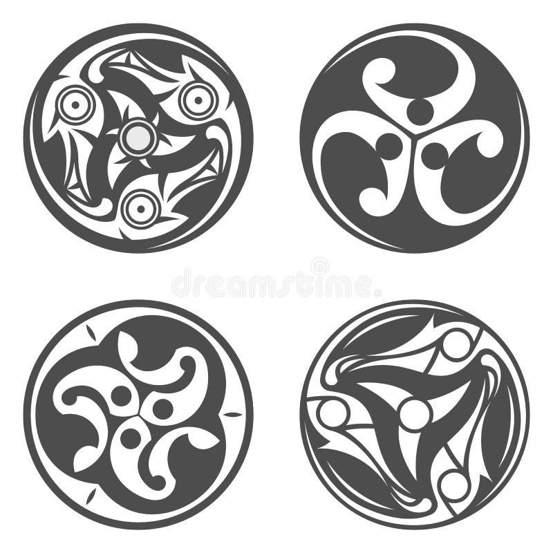 Vector celtic spiral ornament. Geometric illustration royalty free illustration
