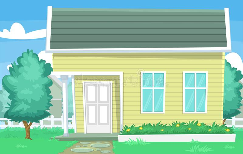 Vector a cena comum da casa dos desenhos animados com a parede e o vizinho de madeira da árvore da jarda da grama ilustração stock