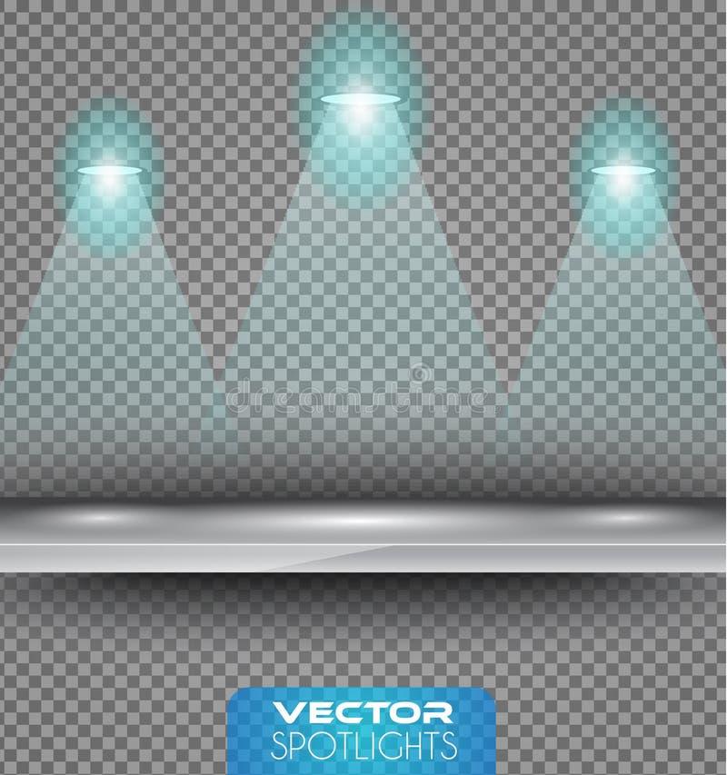 Vector a cena dos projetores com fonte de luzes diferente que apontam ao assoalho ou à prateleira ilustração royalty free
