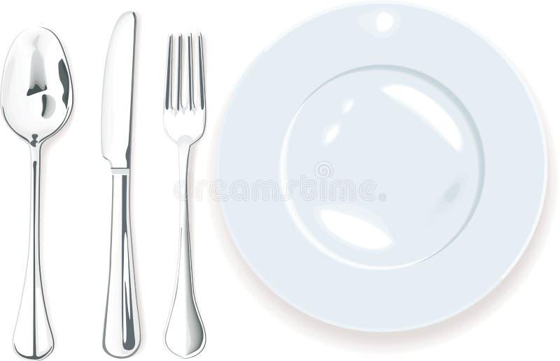 Vector. Cena-placa, fork de la cuchara y cuchillo libre illustration