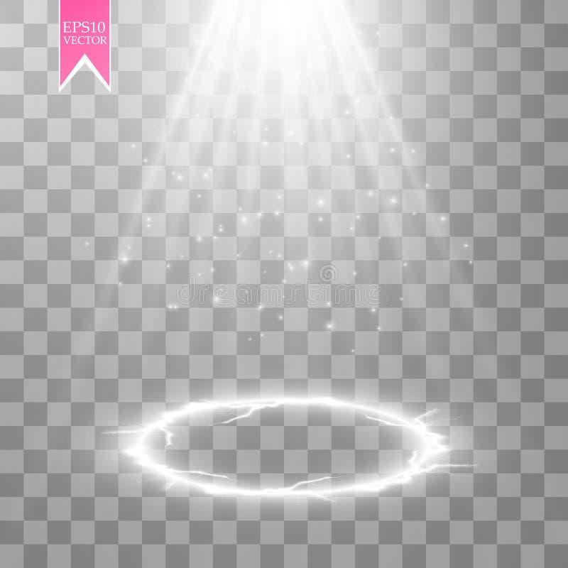Vector a cena transparente branca do projetor da energia com fundo do relâmpago Projeto moderno do poder abstrato do efeito da lu ilustração do vetor