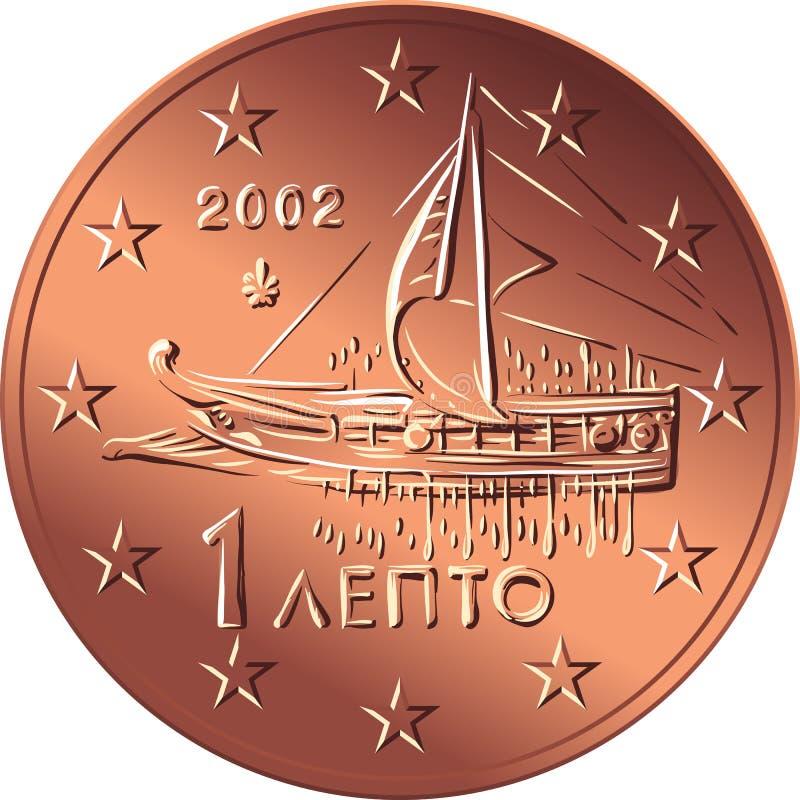 Vector centavo da moeda a grega do bronze do dinheiro o euro- ilustração royalty free