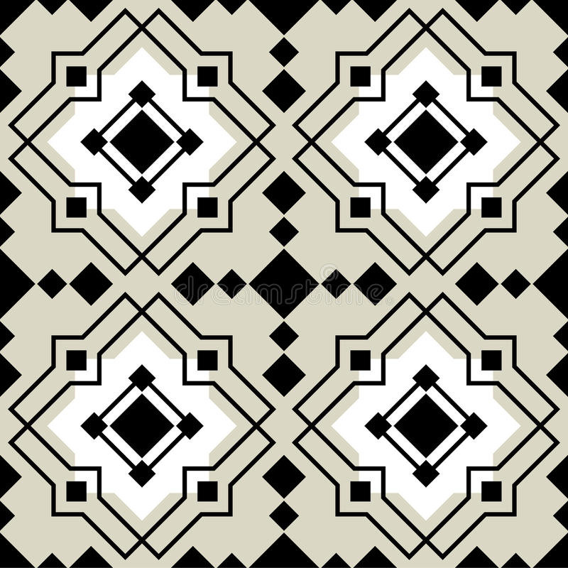 Vector ceramic tiles with seamless pattern. 2D Vector ceramic tiles with seamless pattern stock illustration