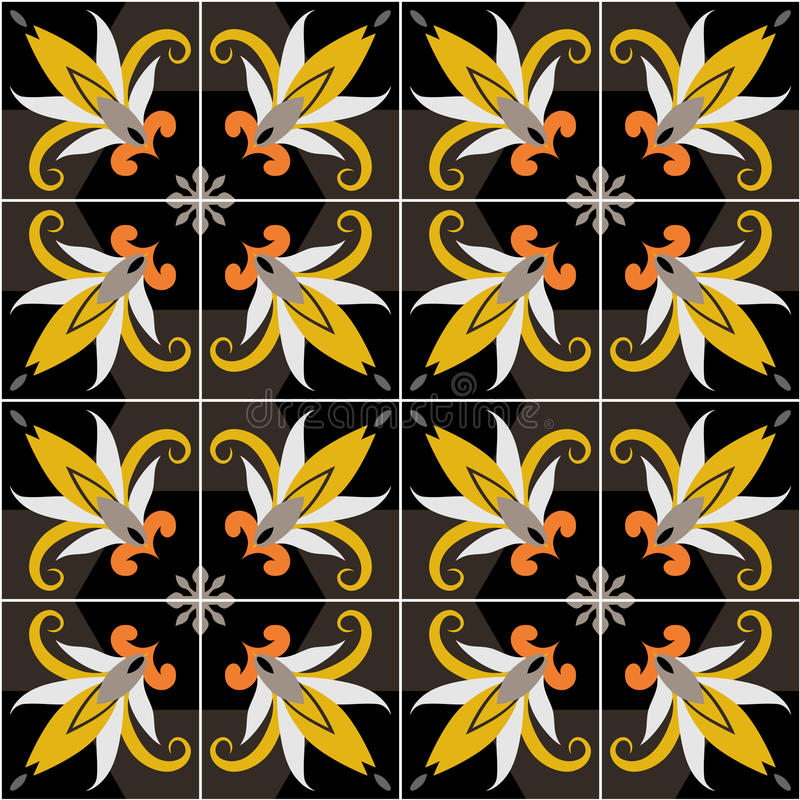 Vector ceramic tiles with seamless pattern. 2D Vector ceramic tiles with seamless pattern royalty free illustration