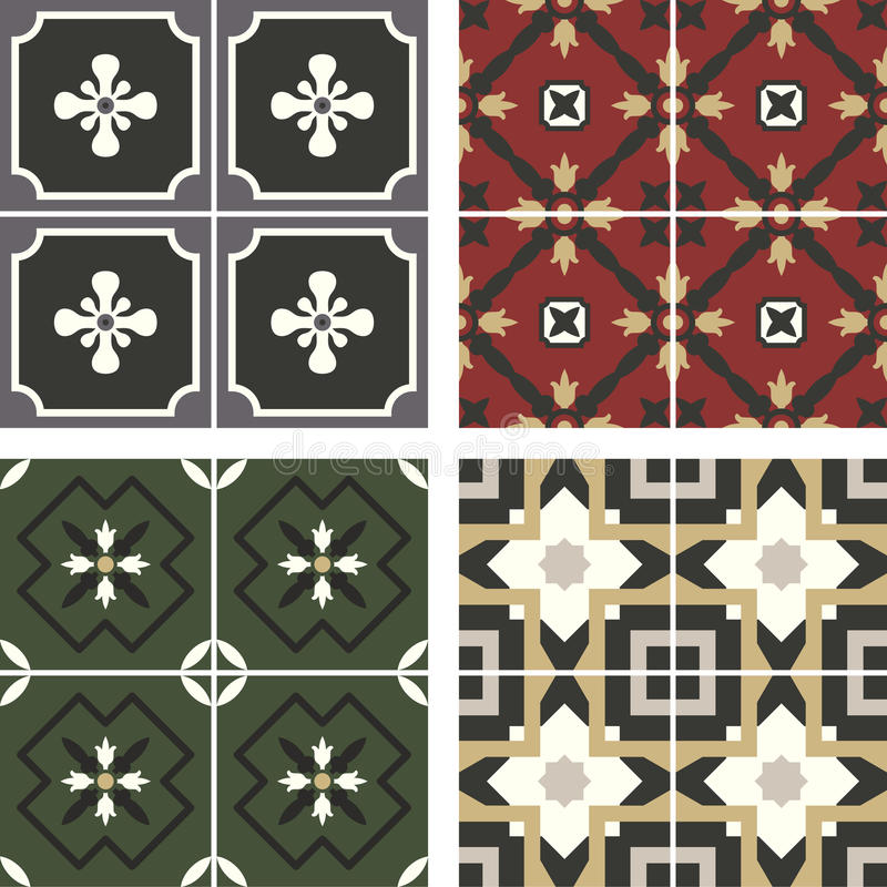 Vector ceramic tiles with seamless pattern. 2D vector ceramic tiles with seamless pattern. Morocco stock illustration