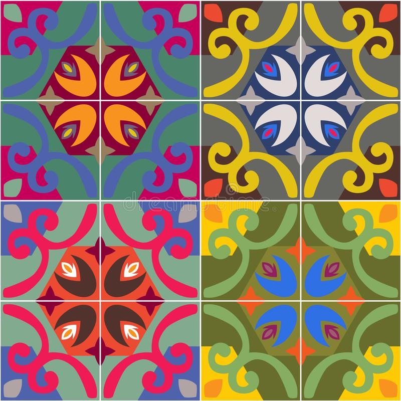 Vector ceramic tiles with seamless pattern. Vector 2D mexican style stock illustration