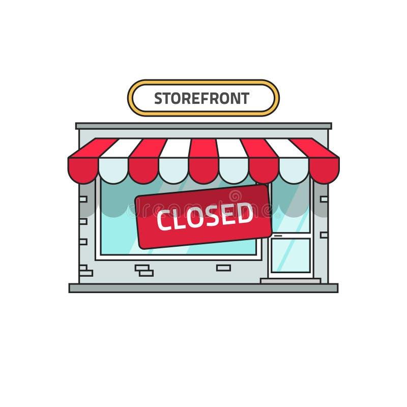 Vector cerrado del edificio comercial, opinión de la fuente de la tienda con la muestra cercana ilustración del vector