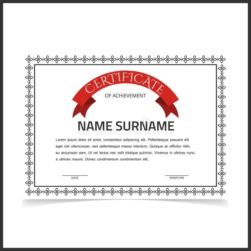 Vector Certificate Template With Dark Grey Designe Borders Stock