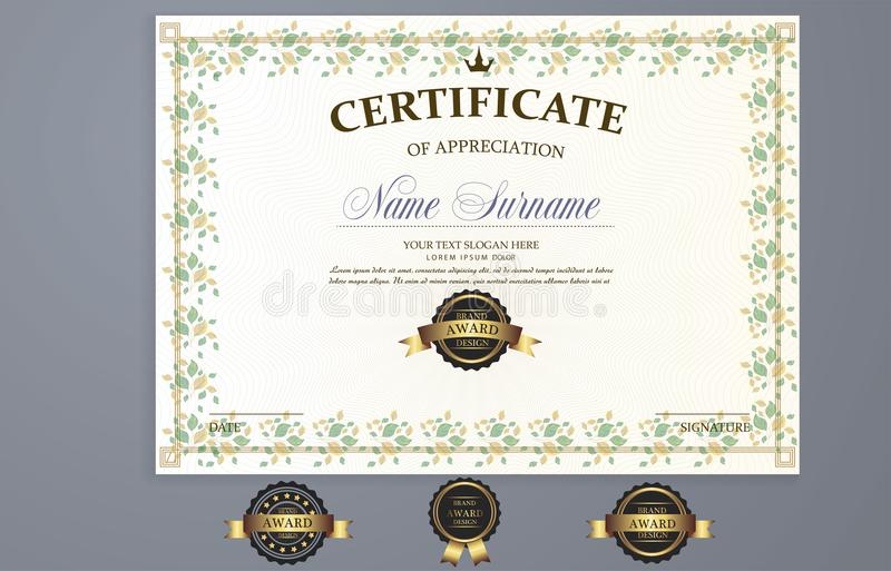 Vector certificate template stock illustration