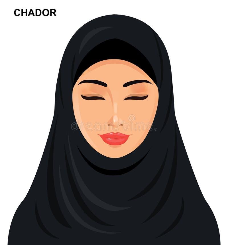 Vector - chador headgear style, beautiful arabic muslim woman -. Illustration isolated eps 10 royalty free illustration