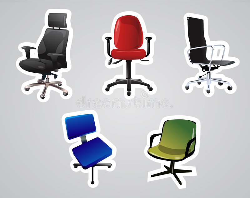 Vector of Chairs. Vector of vary Office Chairs royalty free illustration