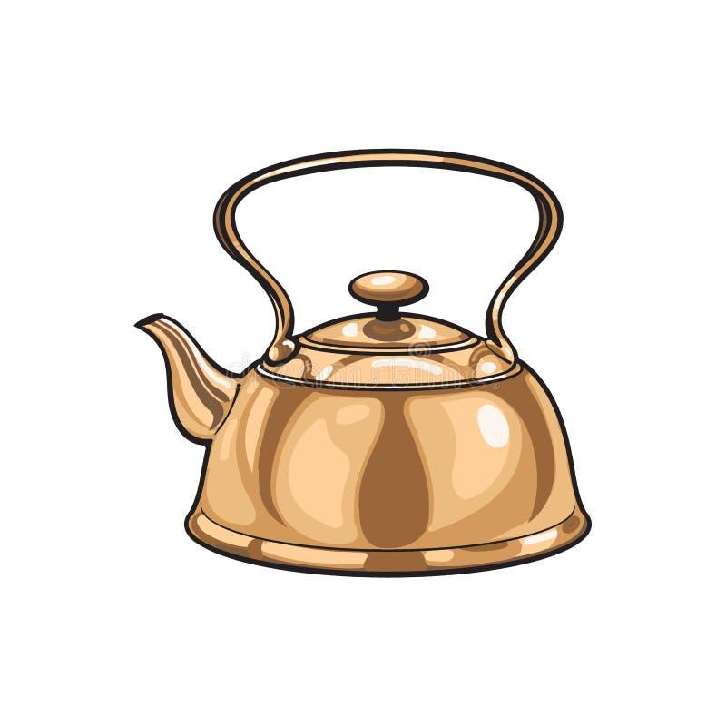 Vector a chaleira de bronze do metal, esboço do bule isolada ilustração stock