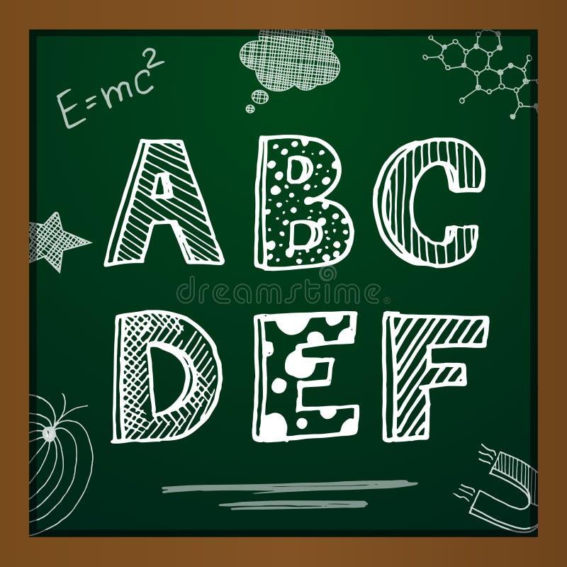 School Board And Alphabet Stock Vector. Illustration Of