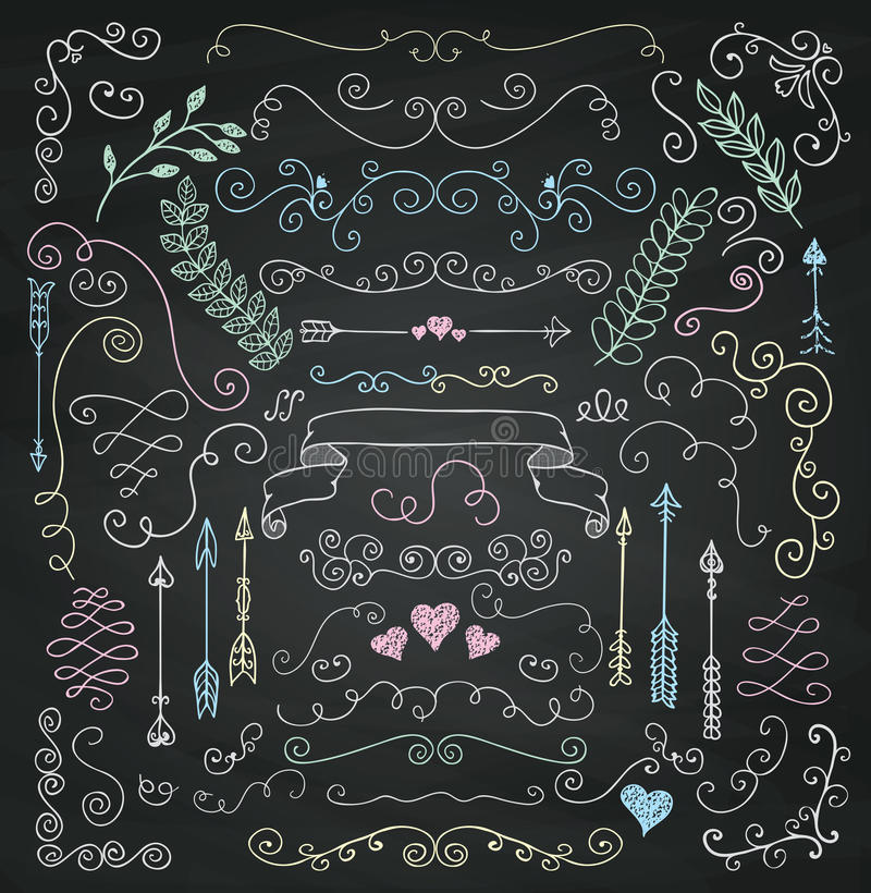 Vector Chalk Drawing Rustic Floral Design Elements royalty free illustration