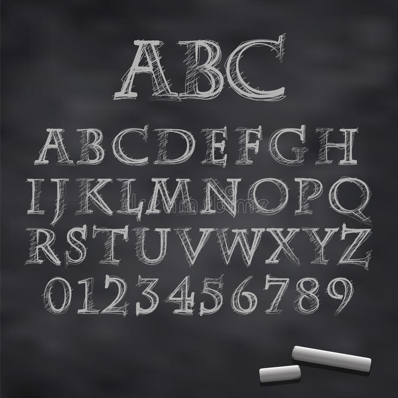 Vector chalk font vector illustration