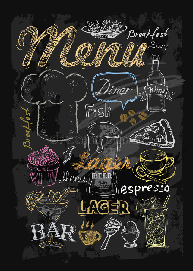 Vector chalk menu stock illustration
