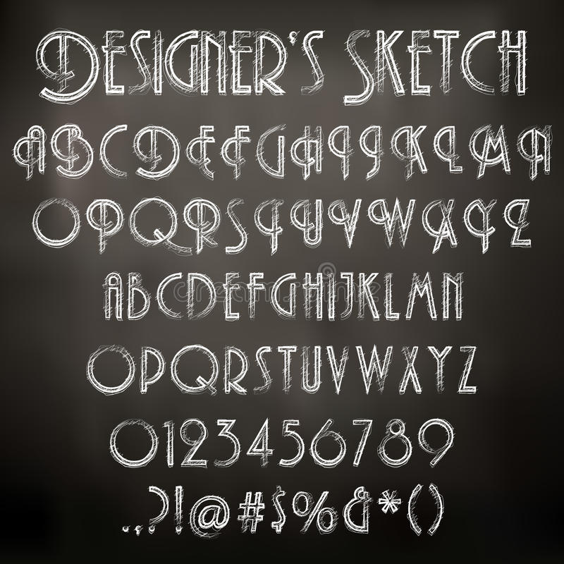 Vector chalk sketched font stock illustration