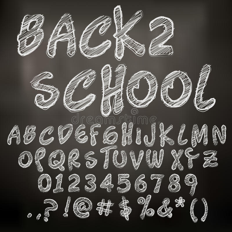 Vector chalk sketched letters stock illustration
