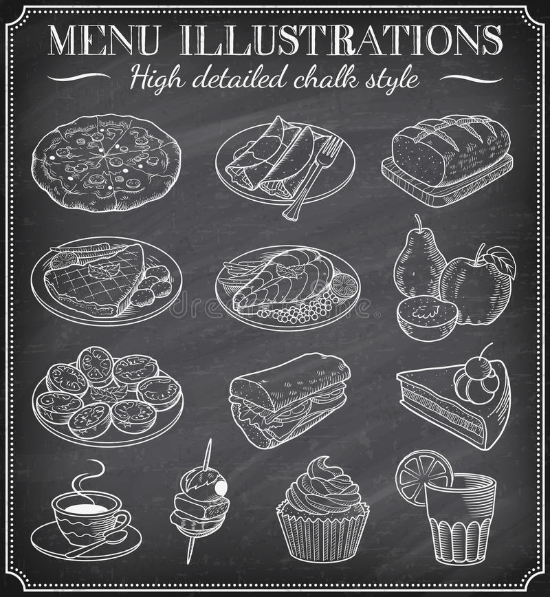 Free Vector Chalkboard Food Illustrations Stock Image - 45986531