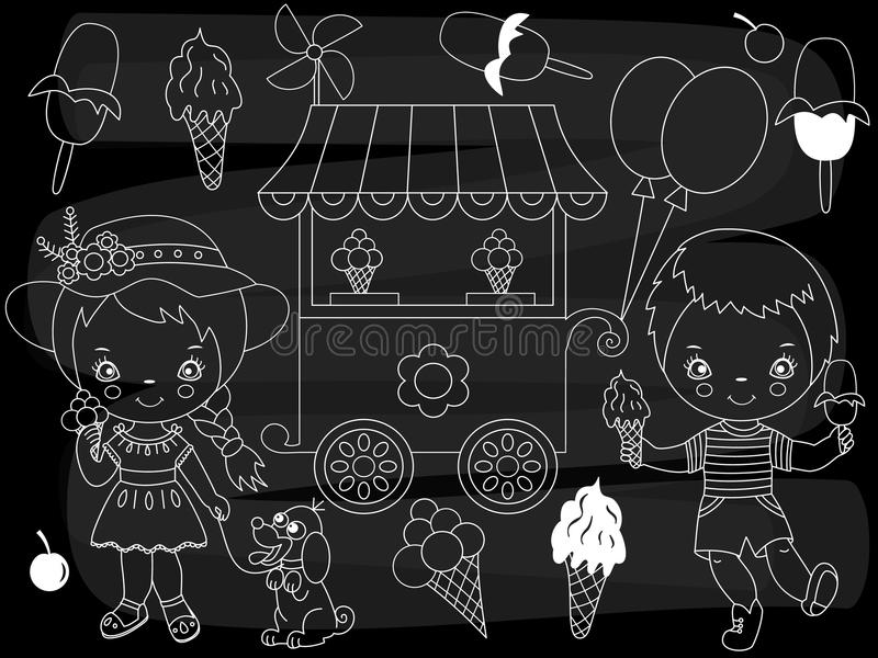 Vector Chalkboard Ice Cream Party Set. Vector Little Kids with Ice Cream on Blackboard Background vector illustration