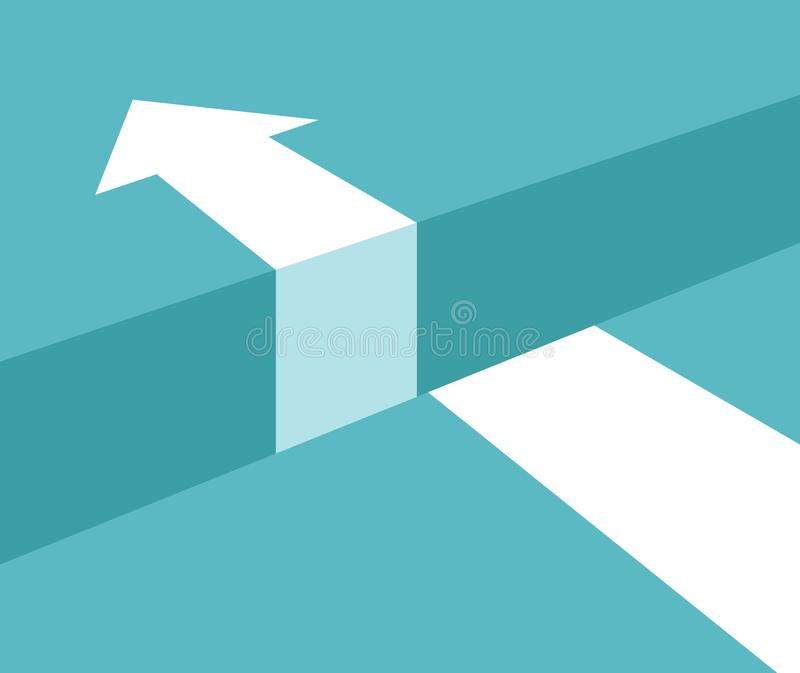 Vector challenge concept. Obstacle arrow chasm for business cucess concept vector illustration