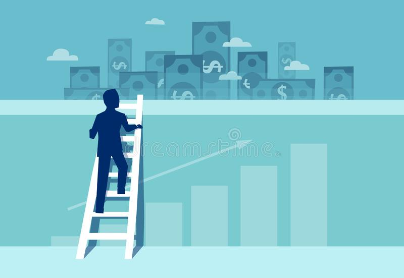 Vector of a challenged businessman climbing up the wall to see financial real estate opportunities. Vector of a challenged businessman climbing up the wall on a royalty free illustration